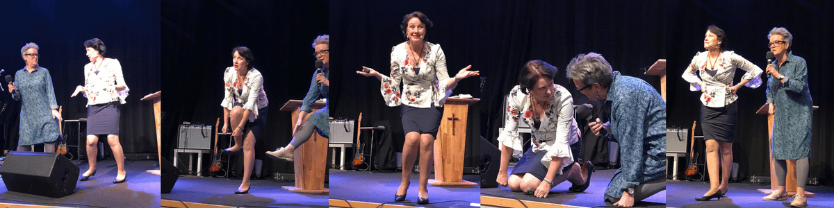 Trish Jenkins very animated and interactive preaching
